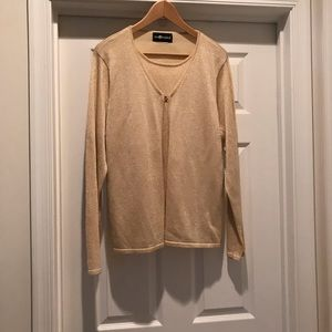 Sag Harbor gold sweater with front clasp